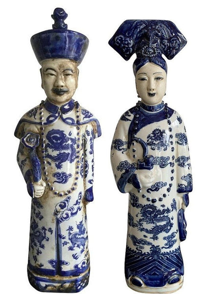 Blue and White Ceramic Chinese Emperor and Queen Set (Pair)