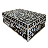 Black Flower Mother of Pearl Inlay Box