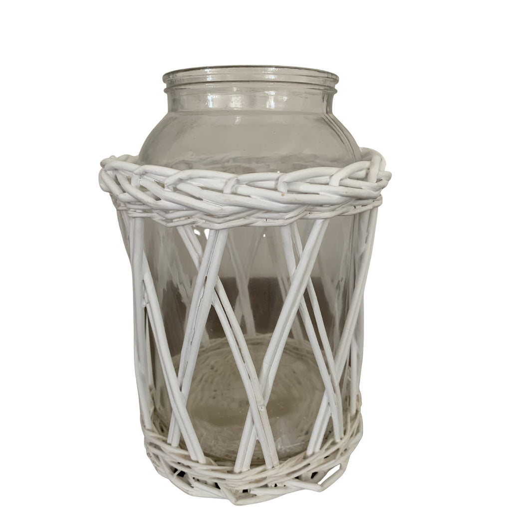 Glass and Cane Hurricane Lantern