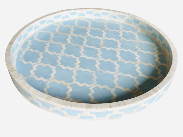 Ice Blue Large Round Moroccan Pattern Bone Inlay Tray