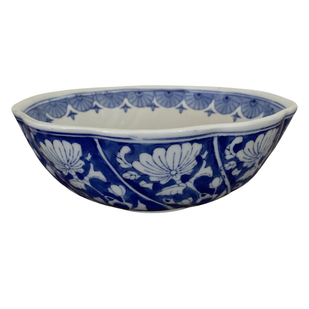 Traditional Blue and White Ceramic Floral Design Bowl (Small)