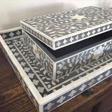 Grey Flower Mother of Pearl Inlay Box