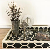 Black Honeycomb Pattern Bone Inlay Tray