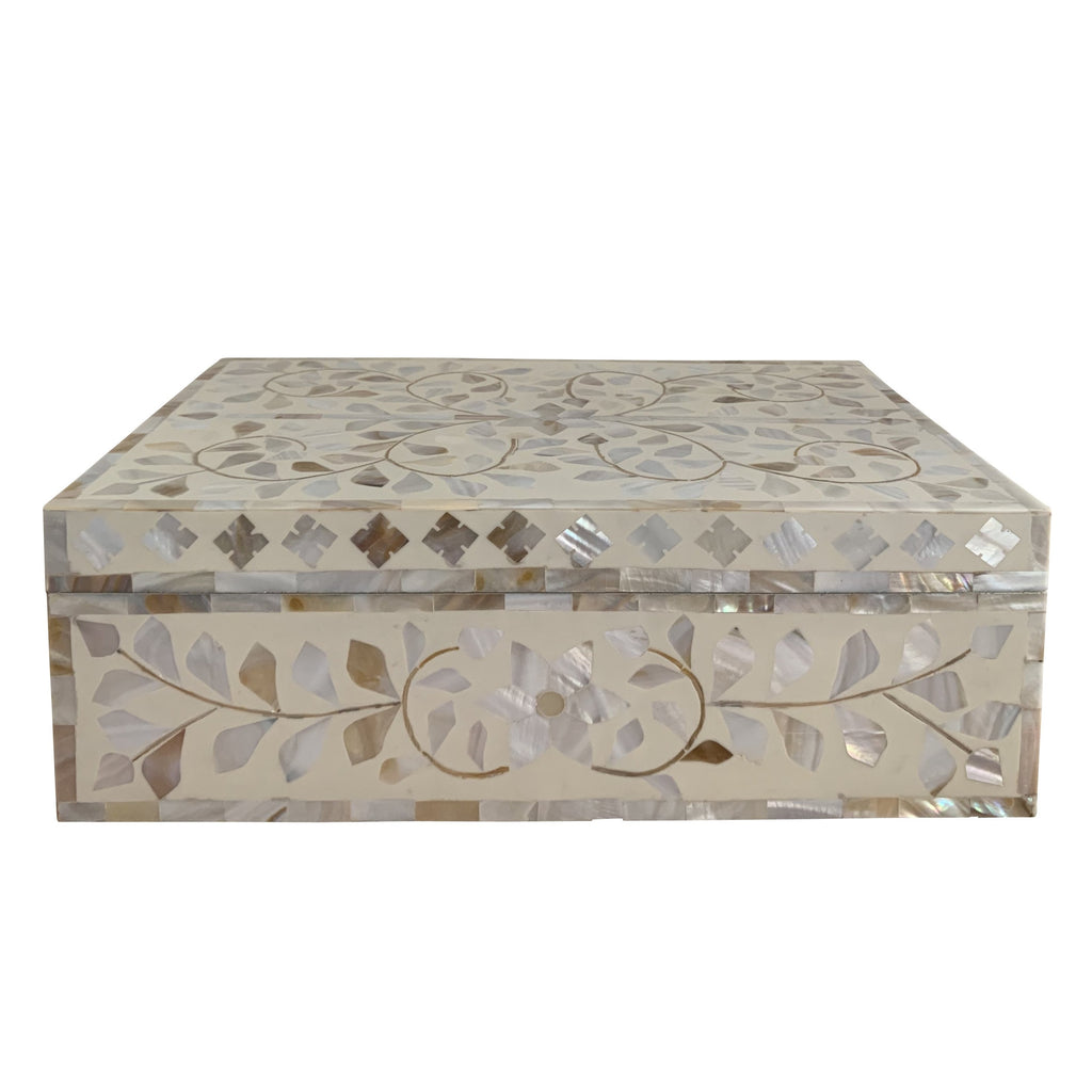 Cream Flower Mother of Pearl Inlay Box