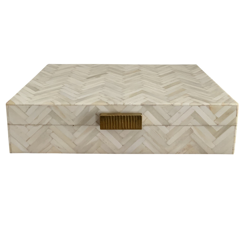 Chevron Bone Inlay Box (Natural)
