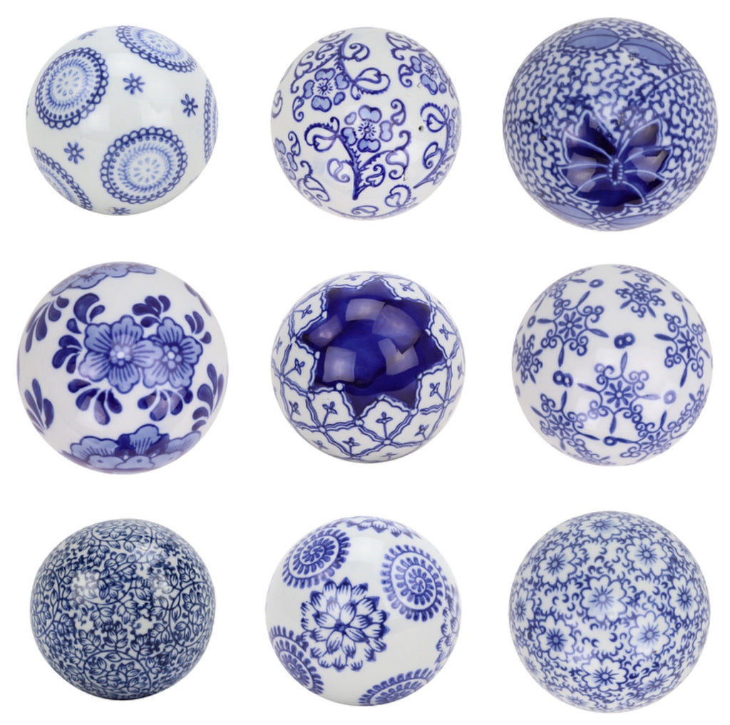 Blue and White Floral Ceramic Decorative Balls (set of 6)