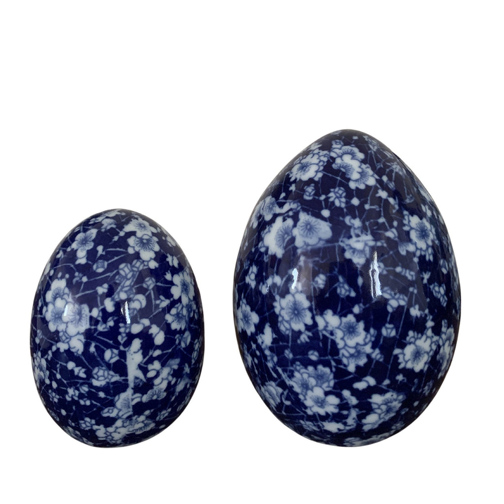 Traditional Blue and White Blossom Eggs (Set of Two)