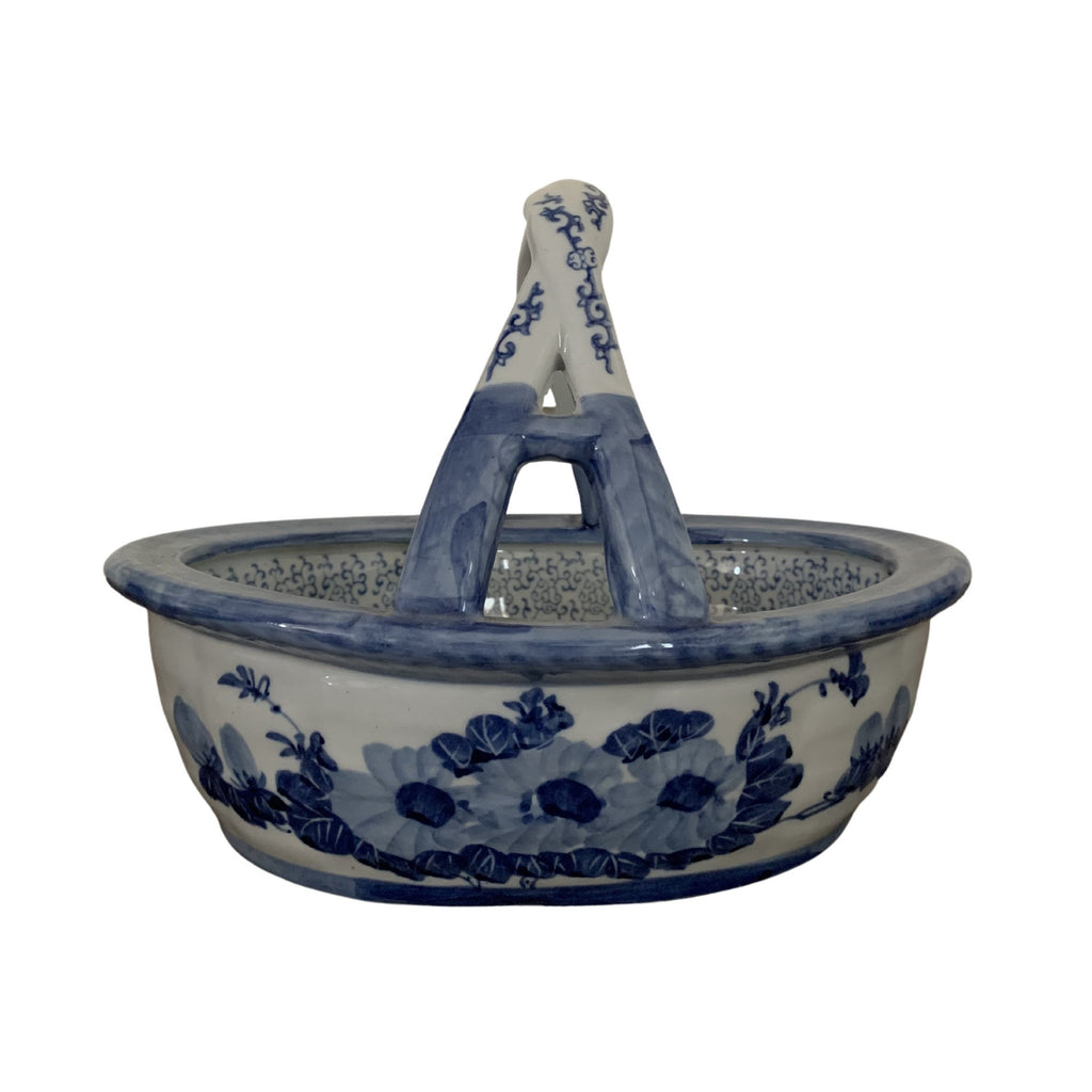 Traditional Flower Bowl with Handle