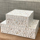 White Flower Mother of Pearl Inlay Box
