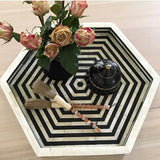Black Hexagonal Bone Inlay Tray