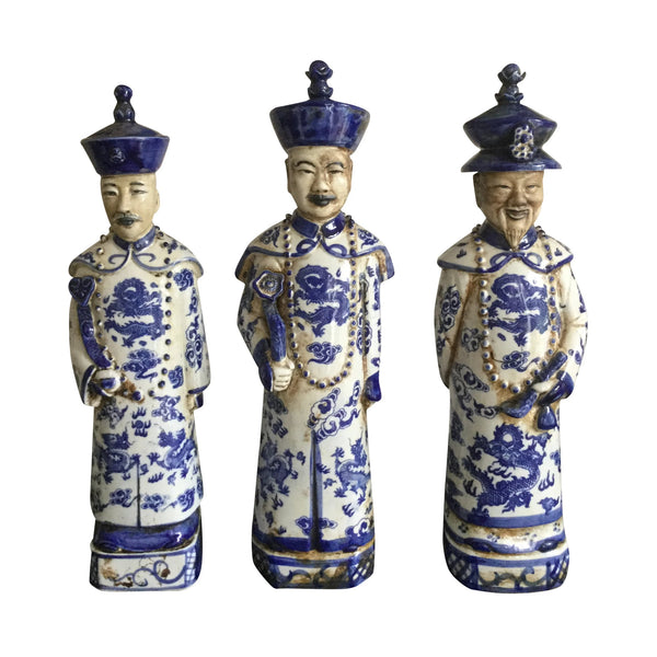 Blue and White Ceramic Chinese Emperors (Standing)
