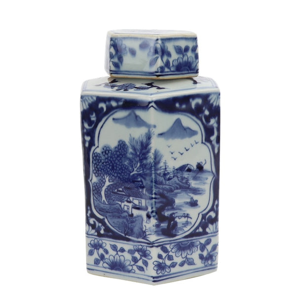 Blue and White Hex Ginger Jar