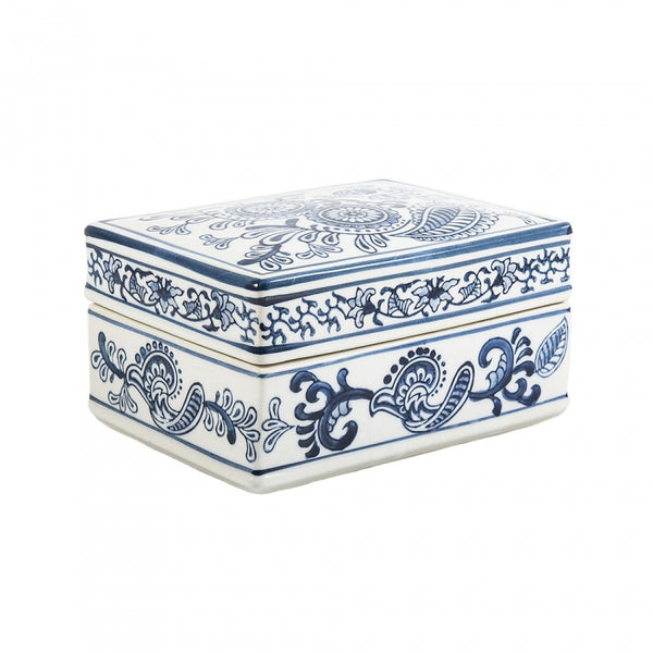 Blue Flower Rectangle Box
