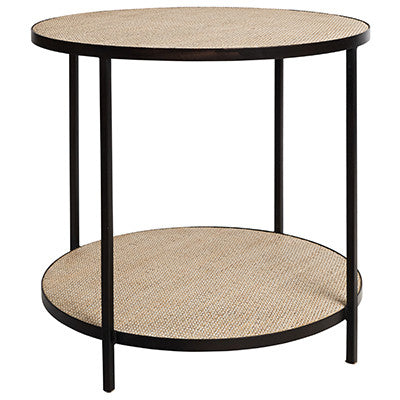 Round Rattan Side Table (Black)