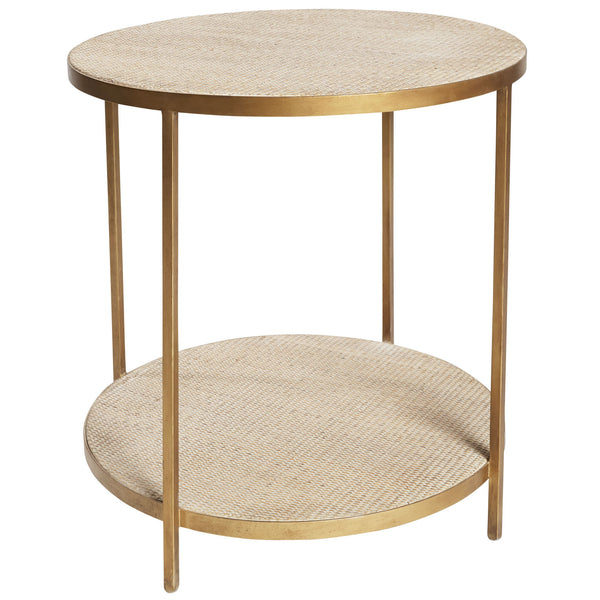 Round Rattan Side Table (Gold)