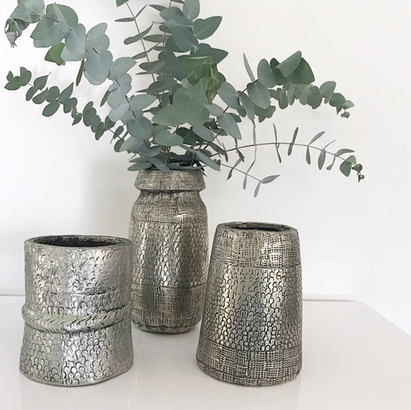 Hand Hammered German Silver (White Metal) Vintage Pots