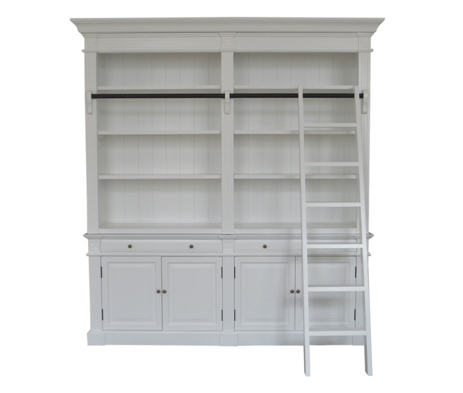 White Book Shelf with Ladder (Double)