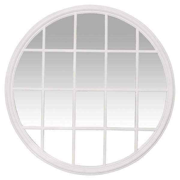 White Paneled Round Mirror
