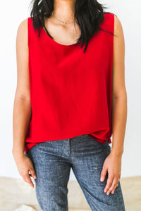 Ruby red silk tank top