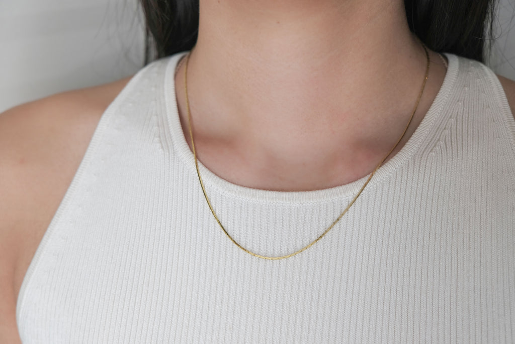 Gold Box Chain Necklace