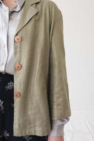 Metallic Gold Linen Crop Jacket