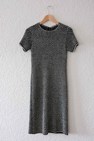 Metallic Silver and Black Midi Dress
