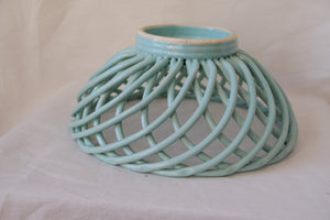 Woven Basket-Like Ceramic Fruit Bowl