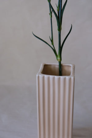 Ribbed Square Cylindrical Vase