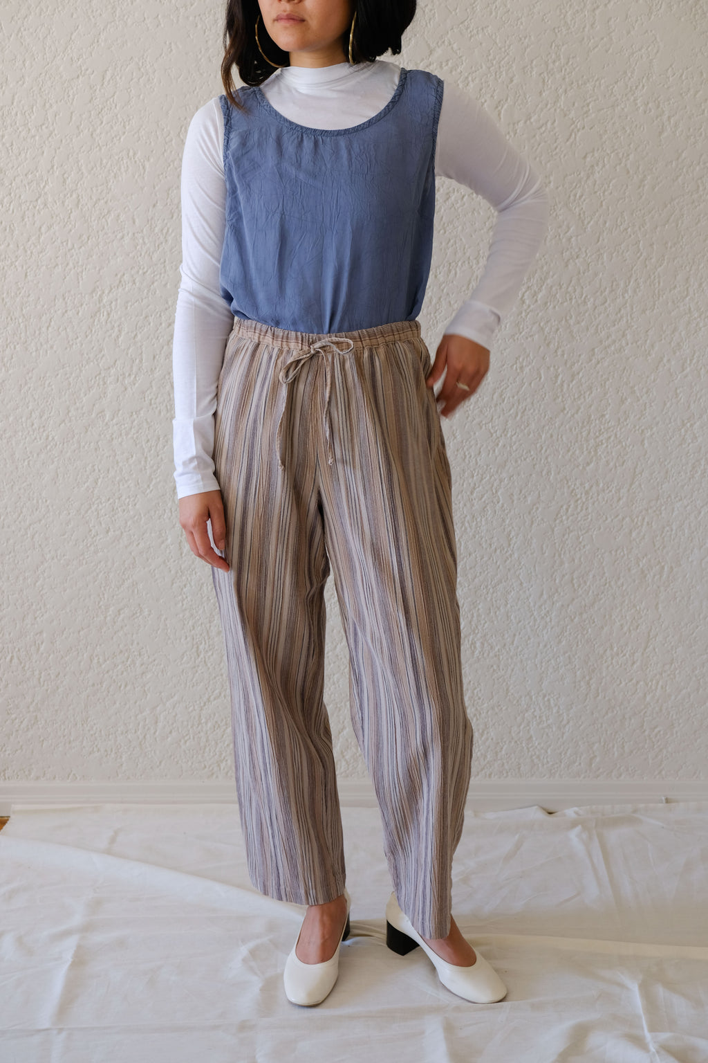 Drawstring Striped Easy Pants