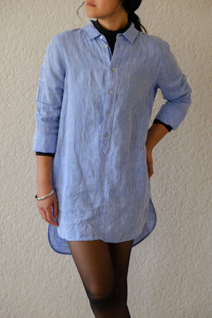Sky Blue Linen Shirt Dress