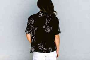 Floral abstract line design top