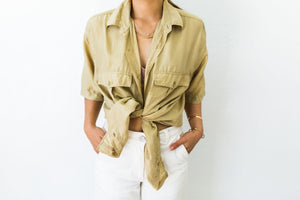 Silk collared button up