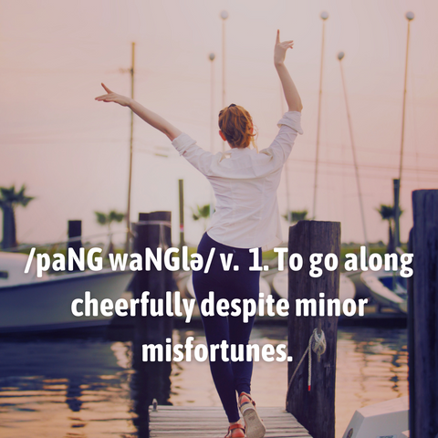Pang Wangle definition to go along cheerfully despite minor misfortunes, model wearing insect shield clothing walking on a pier, hands raised