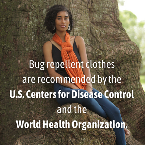 Pang Wangle bug repellent apparel model wearing optimist pants insect shield leggings and essential wrap in rust, quote overlay reads: Recommended by the Centers for Disease Control and World Health Organization
