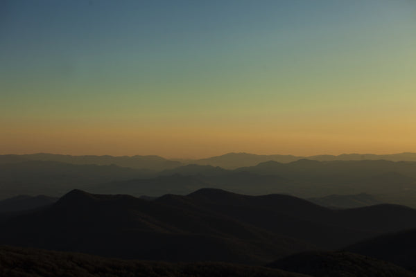 Asheville sunset blue ridge mountains from craggy pinnacle north carolina