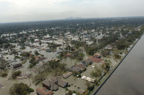 aerial view of flooded homes in Baton Rouge, Louisiana area during floods of 2016