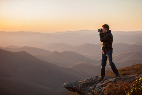 Asheville Photographer J. Smilanic shooting the sunset at Craggy Pinnacle on the Blue Ridge Parkway