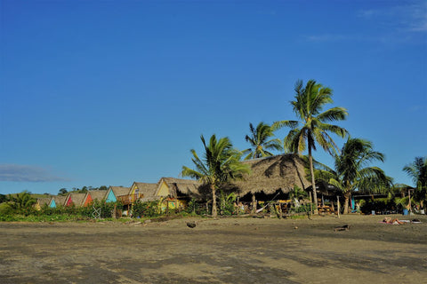 thatched huts in playa venao surf village in panama pacific coast