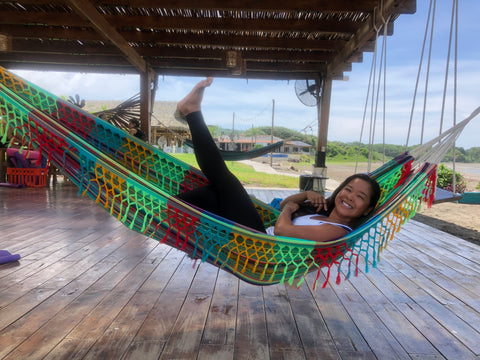 Riza Ayson in a hammock in Playa Venao Panama