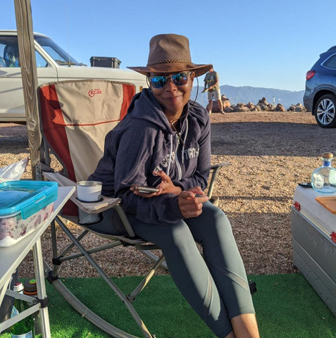 Pang Wangle Business Development Director Vanessa Blais camping in California.