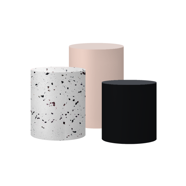 Minerals I Set Of 3 Cylinder Plinths & Covers