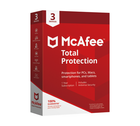 McAfee Total Protection 2020 Antivirus 3 Enheder 1 år