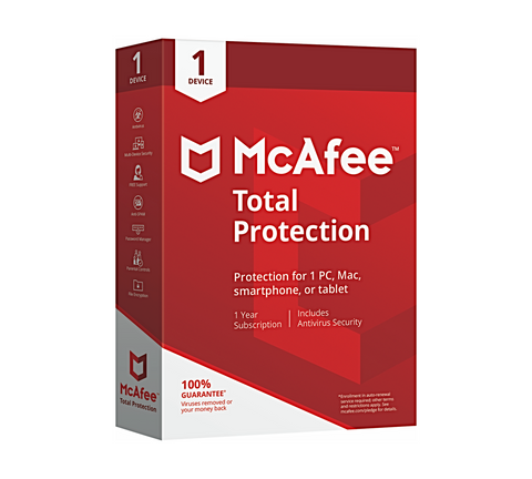 McAfee Total Protection 2020Antivirus 1 Enheder 1 år