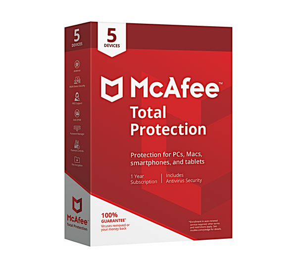 McAfee Total Protection 2020 Antivirus 5 Enheder 1 år