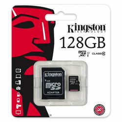 Micro SD Kingston 128GB 10 class HUKOMMELSESKORT SD kort