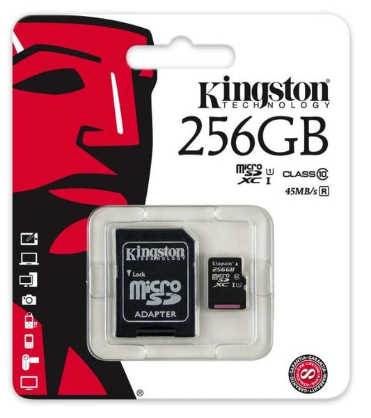 Micro SD Kingston 256GB 10 class HUKOMMELSESKORT M. KAMERA ADAPTOR