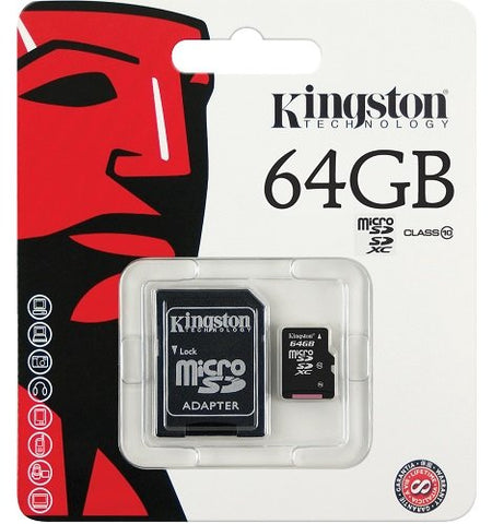 Micro SD Kingston 64 GB 10 class HUKOMMELSESKORT