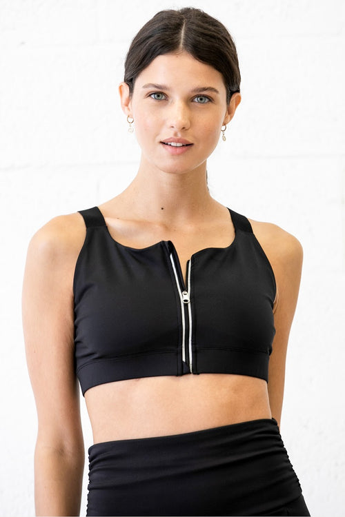 fusion zipper front sports bra