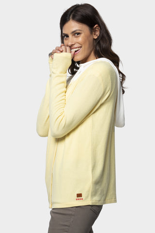 comfy knit hoodie with waffle knit