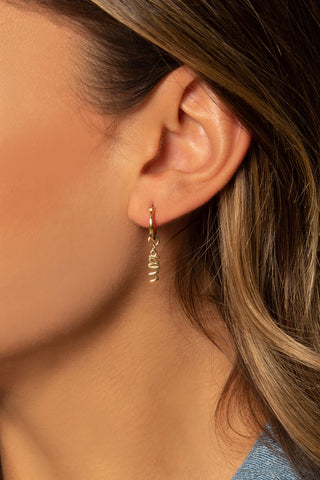 Peace Dangle Hoop Earrings, 14K Clad